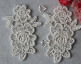 Rose Doily - White - Lace Trim - 2 Pcs