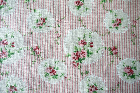 Oval Rose and Stripe - Pink - Cotton Linen Fabric - Fat Quarter