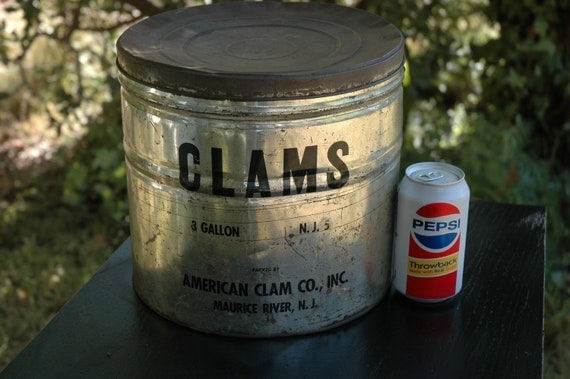 Huge Vintage 3 Gallon Tin American Clam Co