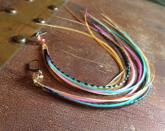 Long Feather Hair Extension Clips AND Colorful Feather Earrings - Convert Into 2 Removable Clip In Feather Extensions
