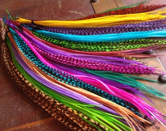 ALL DYED Feather Extensions Grizzly, Bright, Colorful Discount Long Feather Hair Extensions, 25 Hair Feathers Summer Fashion Accessories