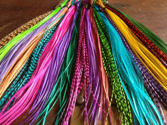 Feather Hair Extensions You Pick 3 Colorful rainbow feathers Largest Color Selection On Etsy Long Hair feather extension salon Plumes