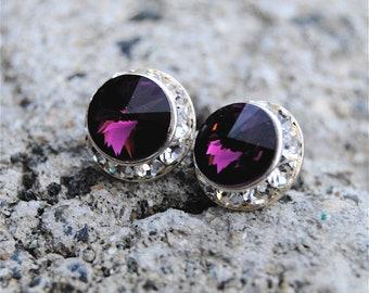 Amethyst Purple Earrings February Birthstone Small Sugar Sparklers Swarovski Crystal Purple Diamond Rhinestone Stud Earrings Mashugana