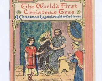 Antique Vintage Holiday Book for Children The World's First Christmas Tree, by Haynes, David Cook, 1916 Color Illustrated Cover Bw Pictures