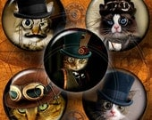 """Steampunk Cat Digital Collage Sheets - 1 inch, 1.5"""", 1.25"""", 30mm, 25mm circles - digital downloads for Crafts, Jewelry, Bottle Caps CG-556"""