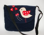 Christmas SALE 20% OFF, MIKA with Love Bird in Red ,Unique Applique, Corduroy, Navy Blue,Polka Dot,Back to School, Messenger Bag, Ooak - MIKOME