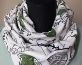 ON SALE White Forest Green Floral and Birds Infinity Scarf, Ikea Pattern,Bird Loop Scarf, Circle Scarf,Ready to Ship