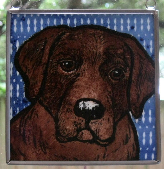 Stained Glass Dog Suncatcher Chocolate Lab On Royal Blue
