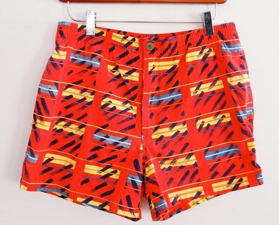 Geometric Swimming Trunks Mens Vintage Medium Red Swim Trunks Beach Boys 28 30 32