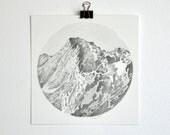 Mountainscape Original Graphite Drawing 5x5