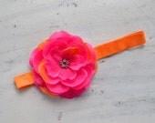 Sale-Bright pink flower headband or clip- summer, fall, newborns, babies, girls, teens, women, photo prop
