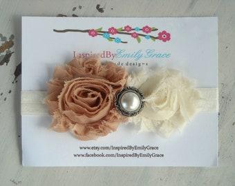 Black Friday Sale-Shabby Rose Headband- mocha & cream-newborn photo prop, babies, girls, women, vintage, shabby chic