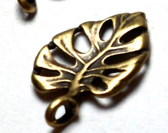 Philodendron Leaf Charms Antique Bronze 15 pcs 20mm