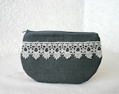 zipper pouch cosmetic bag small clutch gray linen and beautiful lace - HelloVioleta