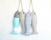 4 Fabric stuffed fish ornaments summer house décor nautical cute