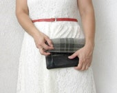 Fold over Leather clutch Vintage Wool plaid and leather bottom