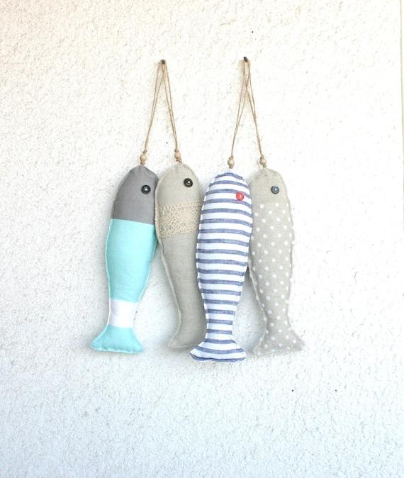 4 Fabric stuffed fish ornaments summer house décor nautical cute