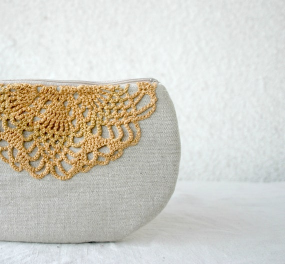 Linen and lace doily small clutch zipper pouch cosmetic bag ochre lace