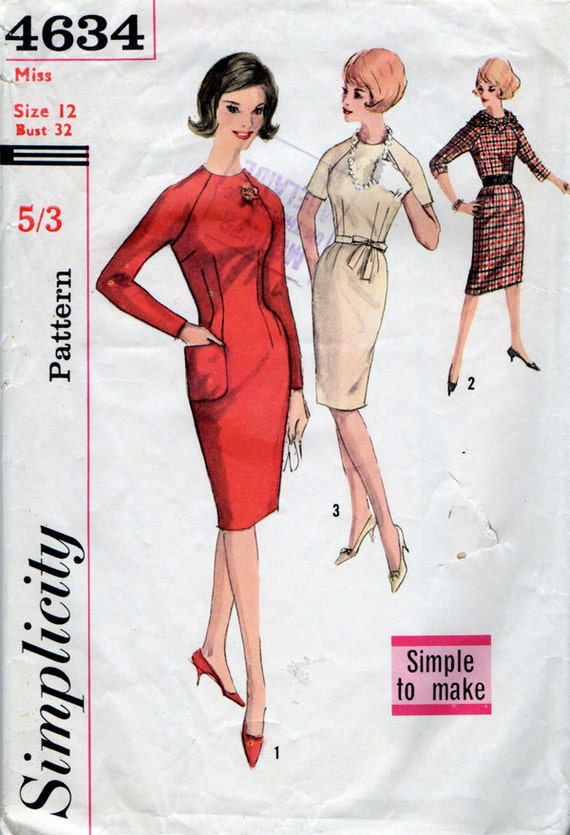 1960s Wiggle Dress & Scarf Vintage Sewing Pattern - Simplicity 4634 Size 12 Bust 32