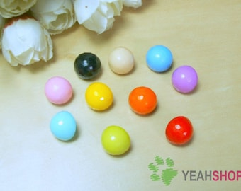 11.5mm Candy Color Plastic Mushroom Buttons - 1 Pack / 50 PCS  (PBT20)