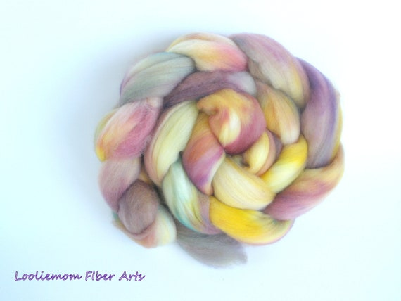 METEOR SHOWER, hand dyed superfine Merino combed top. 4 ounces
