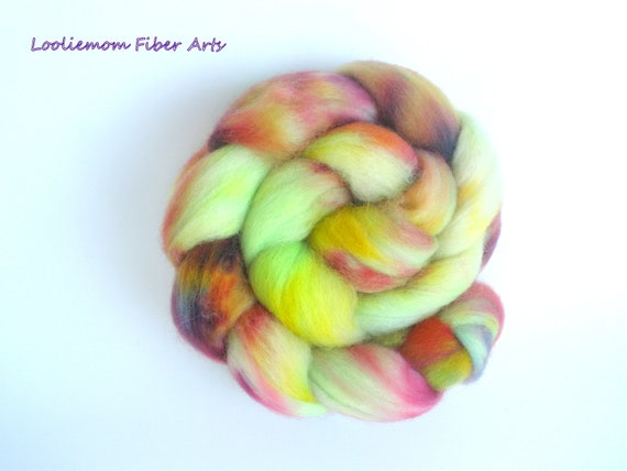 KEY WEST. hand dyed Corriedale Cross combed top, 4 ounces
