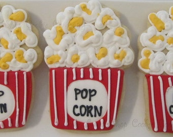 "2 dozen ""Movie Night"" Popcorn Custom Cutout cookies"