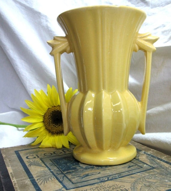 Yellow Vintage Classic Deco McCoy Marked Pottery Vase
