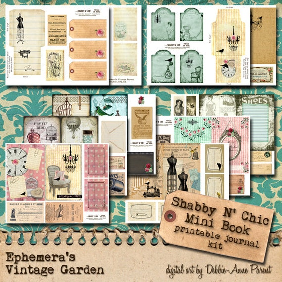 Shabby N Chic - Printable Junk Journal Kit