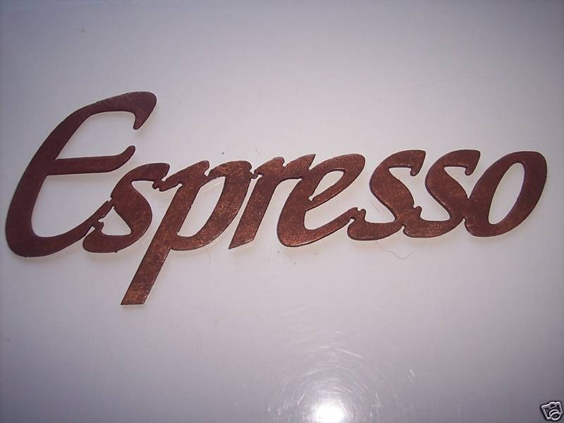 Espresso Word Metal Wall Art Kitchen Decor by sayitallonthewall