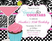 CUPCAKES and COCKTAILS invitation - 4 to choose - U PRINT - engagement, birthday, shower, girls night