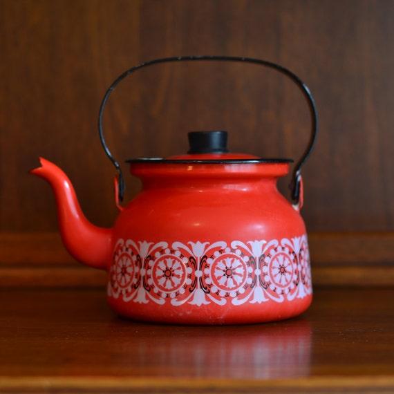 Vintage Finel Red Tea Pot
