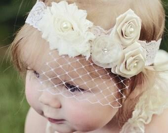 Lace Baby Headband, Birdcage Veil, lace baby headband, baby headband, flower girl headband, vintage lace headband, rosette headband, shabby
