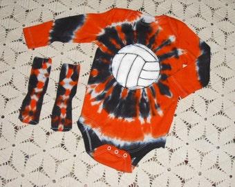 Tie dye bodysuit/w socks: 6-9 month w/long sleeve & 18 month w/long sleeve!  Orange and black volleyball