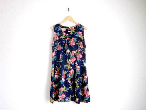 vintage tropical floral dress with sailor tie