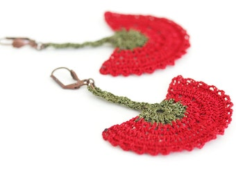 Boho Chic Jewelry / Crochet Jewelry / Statement Earrings / Ethnic Tribal / Red Green / Carnation Flower / Ottoman / FREE SHIPPING