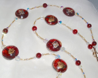 Stunning Deep Red and 24K Gold Murano Disc and Crystal Necklace