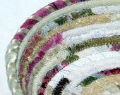 Small Round Coiled Fabric Boudoir Basket - Winter Romance - Gift for Her