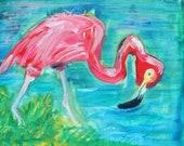 Pink Flamingo Original Painting on Canvas 8 x 10 inches by Erika Johnson- Bird Art- Fine Art- Pink Bird