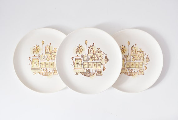 Six Mid-Century Dinner Plates by Taylor Smith and Taylor