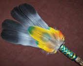 Smudge Fan- Core of Creation - Sacred Prayer Fan with a Twisted Root Handle