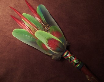Smudge Fan- The Esscence of New Growth- Sacred Prayer Fan with a Green Kyanite Crystal- Made to Order