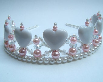 I Heart you Child's Crystal Pearl and White Heart Tiara