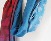 Colorful Pashmina Scarf or Shawl, Gift,  Blue / Red Scarf