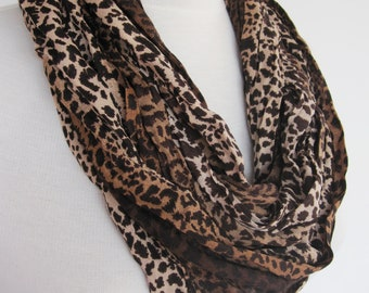 Elegant Leopard Long Cotton Scarf, Gift