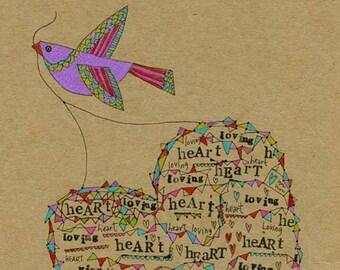 Kids Wall Art, Kids Art,  Loving Heart - Bird Print - Limited Edition 8x10 Print by Jennie Deane