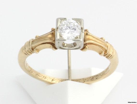 Antique .30ct DIAMOND Engagement RING - 14k & 18k Gold