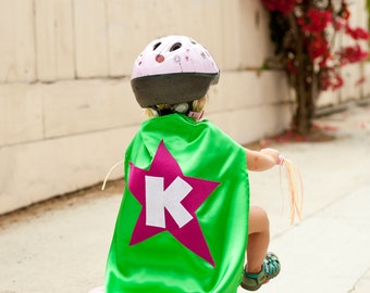 Kids Cape - Green with Hot Pink Star