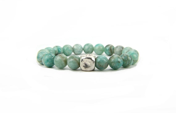 Stretch Stacking Bracelet Mint Aqua Blue Seafoam Sterling Silver:  Seamist