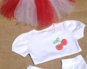 Red and white tutu set with cherry t-shirt and leggings